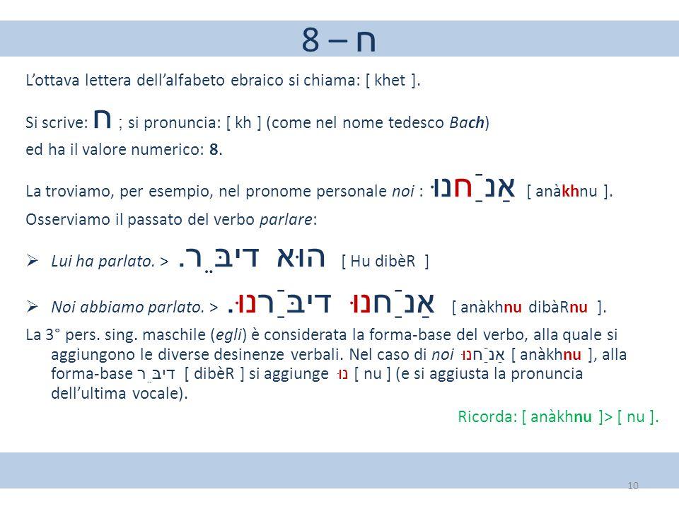 8 – ח L'ottava lettera dell'alfabeto ebraico si chiama: [ khet ].